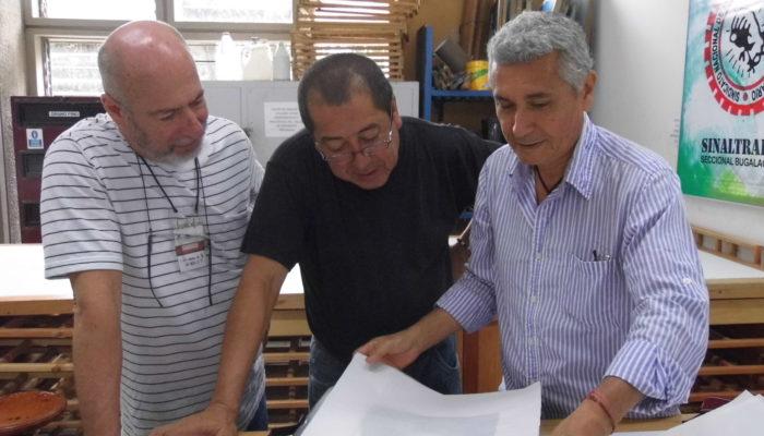 De derecha a izquierda: Jorge Montealegre, Eulices Sánchez, Alfonso Ospina. -  4ta  convención de grabadores Universidad de Antioquia  (Medellín)