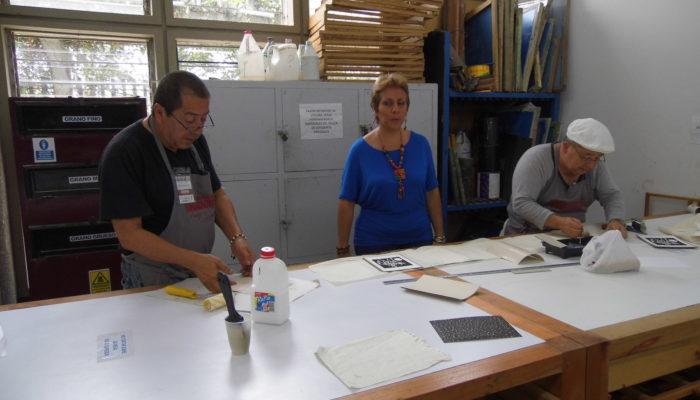 De derecha a izquierda: Pedro Nel Taguado, Maria Isabel Plata, Eulices Sánchez. - 4ta  convención de grabadores Universidad de Antioquia  (Medellín)