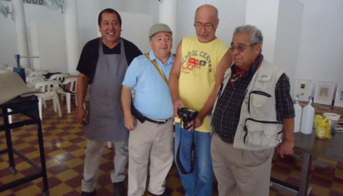 De derecha a izquierda: Pedro Molina, Alfonso Ospina, Pedro Nel Taguado, Eulices Sánchez.  - 3ra convencion de grabadores (La Otra Esquina)