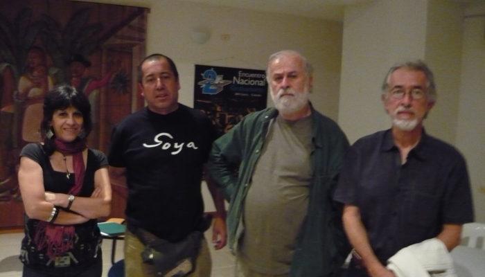 De derecha a izquierda: Hernando Guerrero, Humberto Giangrandi, Eulices Sánchez, Viviana de Guerrero. -  2do Encuentro  Nacional de Grabadores  2009 (Calarcá)