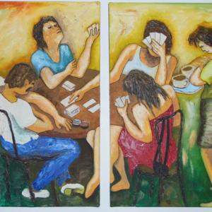 Las jugadoras - Oleo sobre lienzo