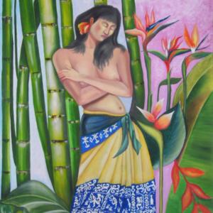 Mujer en el jardín - Acrílico sobre lienzo