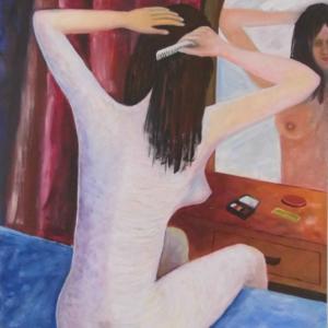 Mujer en el espejo - Acrílico sobre lienzo